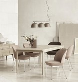 OAK & FABRIC UPHOLSTERED DINING SUITE