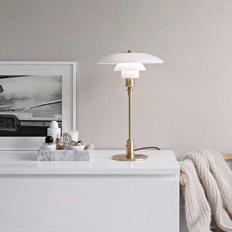 PH 3/2 TABLE LAMP, MOUTH BLOWN WHITE OPAL GLASS SHADES
