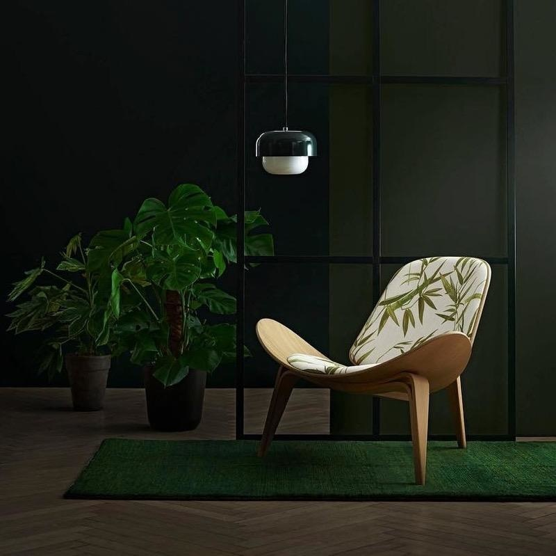 CH07 SHELL CHAIR IN JIM THOMPSON MOSS FABRIC
