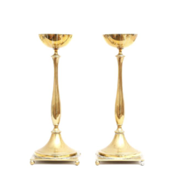 PAIR OF JUGEND BRASS CANDLESTICKS