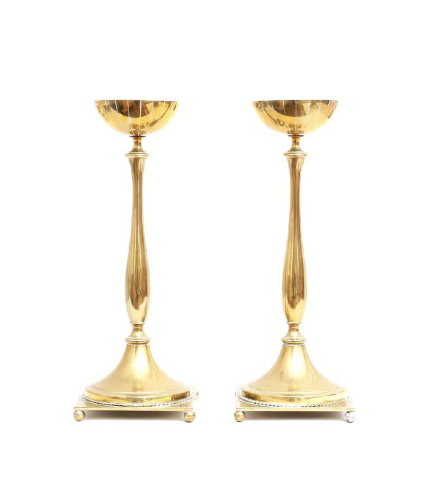 新藝術主義黃銅燭台一對 BRASS CANDLESTICKS