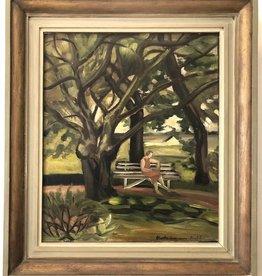 1930年代油畫  - 夏日長椅上的女士