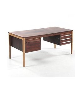 1950年黑黃檀木及橡木書桌