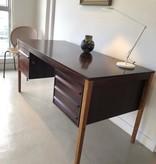 1950年黑黃檀木及橡木古董書桌