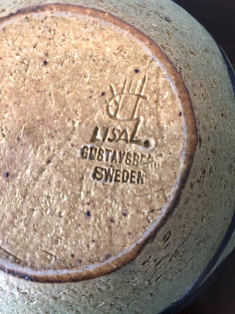 1960's RARE LISA LARSSON STUDIO GREEN GLAZED STONEWARE VASE