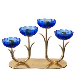 1950's BRASS & CORNFLOWER BLUE CANDLESTICK