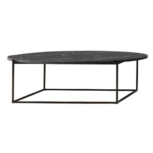 CIRCLE LARGE BLACK COFFEE TABLE WITH BLACK MAT MARBLE TOP