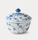 BLUE FLUTED PLAIN SUGAR BOWL WITH LID