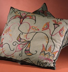 PAIR OF HAND EMBROIDERED JUGEND CUSHIONS W/ TEAL BACKGROUND<br />