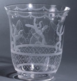 "ETCHED GLASS ""CACTUS"" VASE"