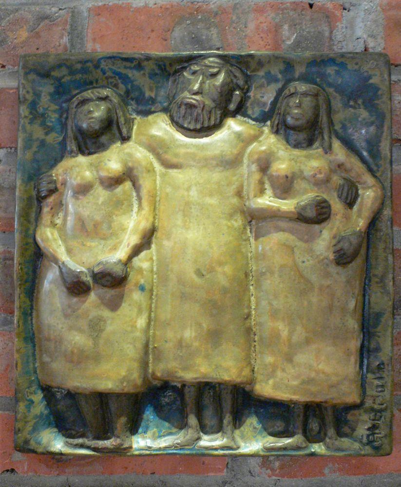 WALL PLAQUE 快乐男人与两个漂亮女士墙匾