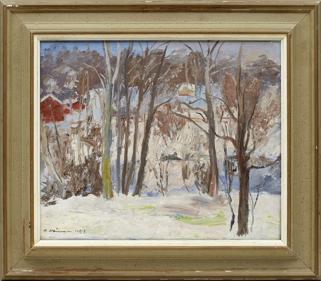 OIL ON BOARD OF WINTER LANDSCAPE