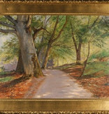 DAPPLED LANE LINED WITH BIRCH TREES OIL IN CANVAS