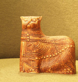 CERAMIC SCULPTURE OF EARTH TONE CAT FROM TERRA SERIES