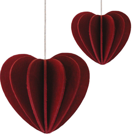 HEART SHAPED ORNAMENT IN DARK RED