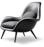 1770 SWOON LOUNGE CHAIR IN BLACK LEATHER