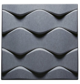 SOUNDWAVE FLO ACOUSTIC PANEL, GREY RECYLABLE MOULDED POLYESTER FIBRE FOR REVERBERATION CONTROL, W58.5 x D6 x H58.5 CM