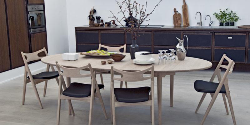 CH338可延伸實心橡木橢圓餐桌