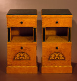 PAIR OF BIEDERMEIER CABINETS WITH ROSEWOOD & SATINWOOD INLAY<br />WITH ROSEWOOD & SATINWOOD INLAY<br />SWEDEN  Circa 1910<br />W39 x D38 x H77cm