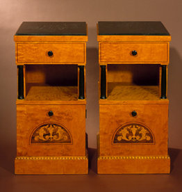 PAIR OF BIEDERMEIER CABINETS WITH ROSEWOOD &amp; SATINWOOD INLAY<br />