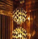 (SHOWROOM ITEM) SPIRAL SP2 HANGING LAMP W/2 CLUSTERS OF GOLD SPIRALS