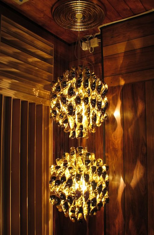 SPIRAL SP2 HANGING LAMP W/2 CLUSTERS OF GOLD SPIRALS