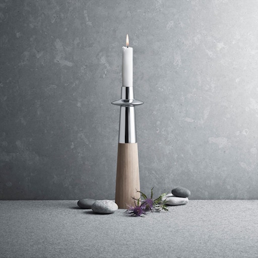 ELLIPSE CANDLEHOLDER, LARGE, IN STAINLESS STEEL & OAK WOOD, ∅80 | H350 MM