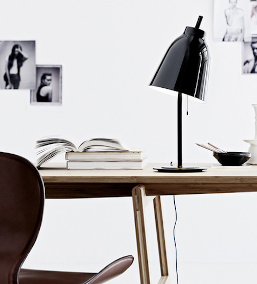 CARAVAGGIO T METAL TABLE LAMP, SHADE IN BLACK HIGH GLOSS LACQUER, BASE IN MATT BLACK LACQUER, BLACK TEXTILE CABLE, ∅ 200 MM / H517 MM