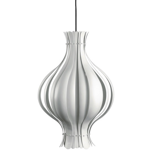 ONION-SHAPED PENDANT LAMP IN METAL WITH WHITE SURFACE