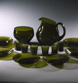 TUPA手吹苔藓绿玻璃利口酒套装(六件装)