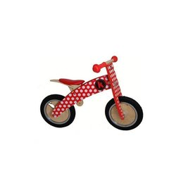 Kiddimoto Loopfiets hout Kurve Red Dotty