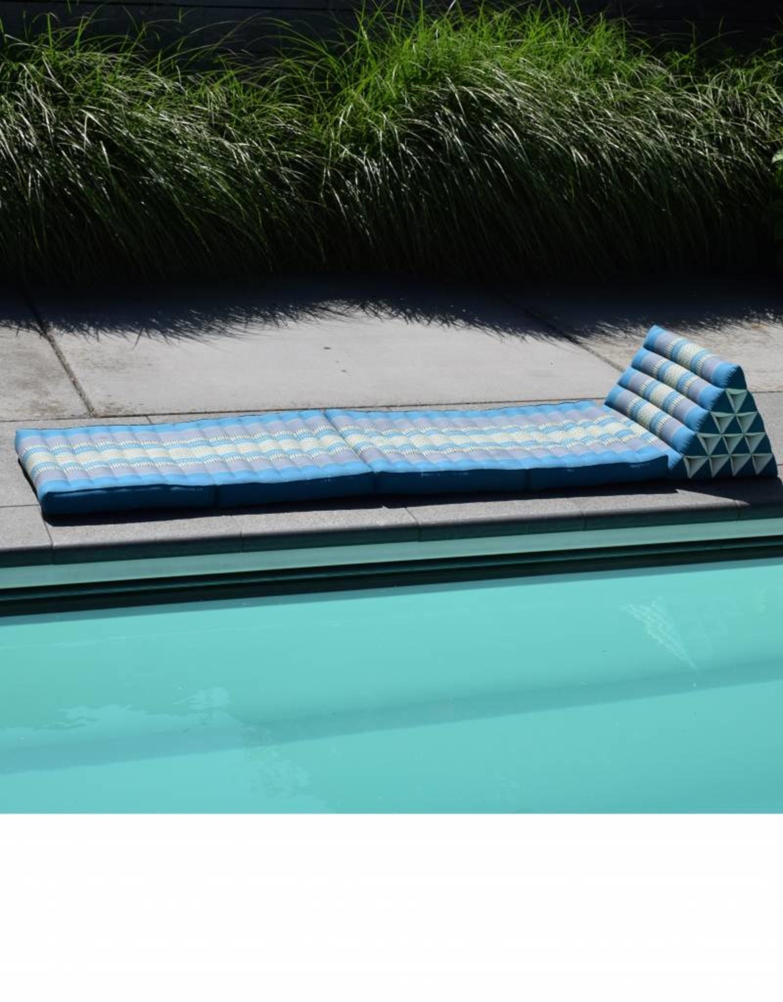 Thai Moonz Thai Floor Cushion Triangle Pillow XL 4 Mat Blue/Grey