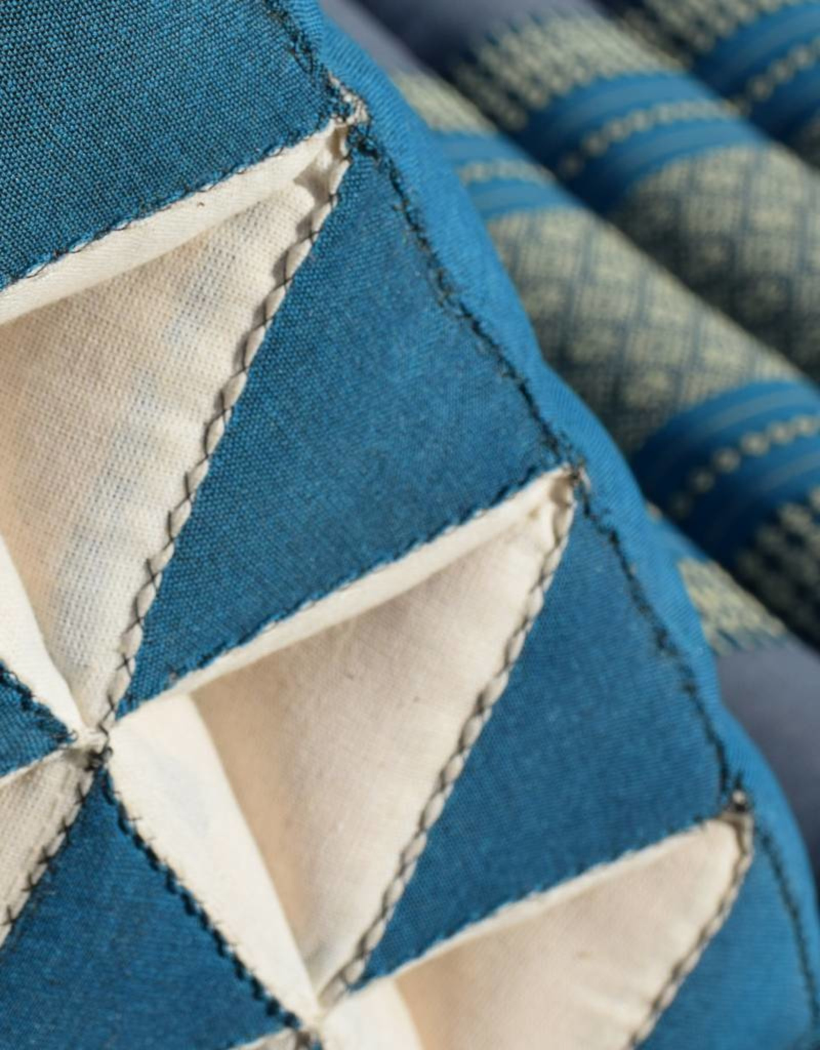 Thai Moonz Thai Floor Cushion Triangle Pillow XL 3 Mat Blue/Grey