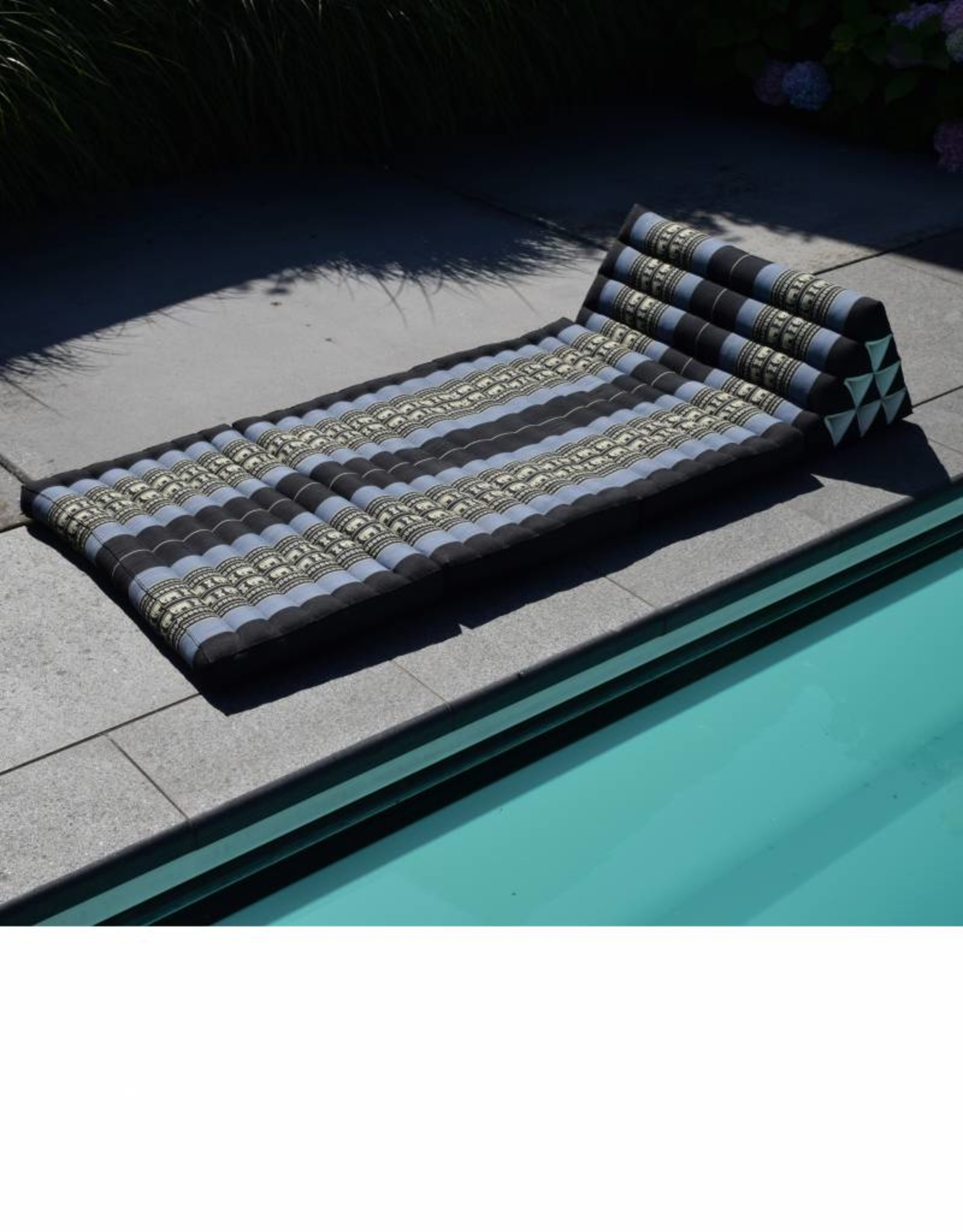 Thai Moonz Thai Floor Cushion Triangle Pillow Jumbo 3 Mat Black/Grey