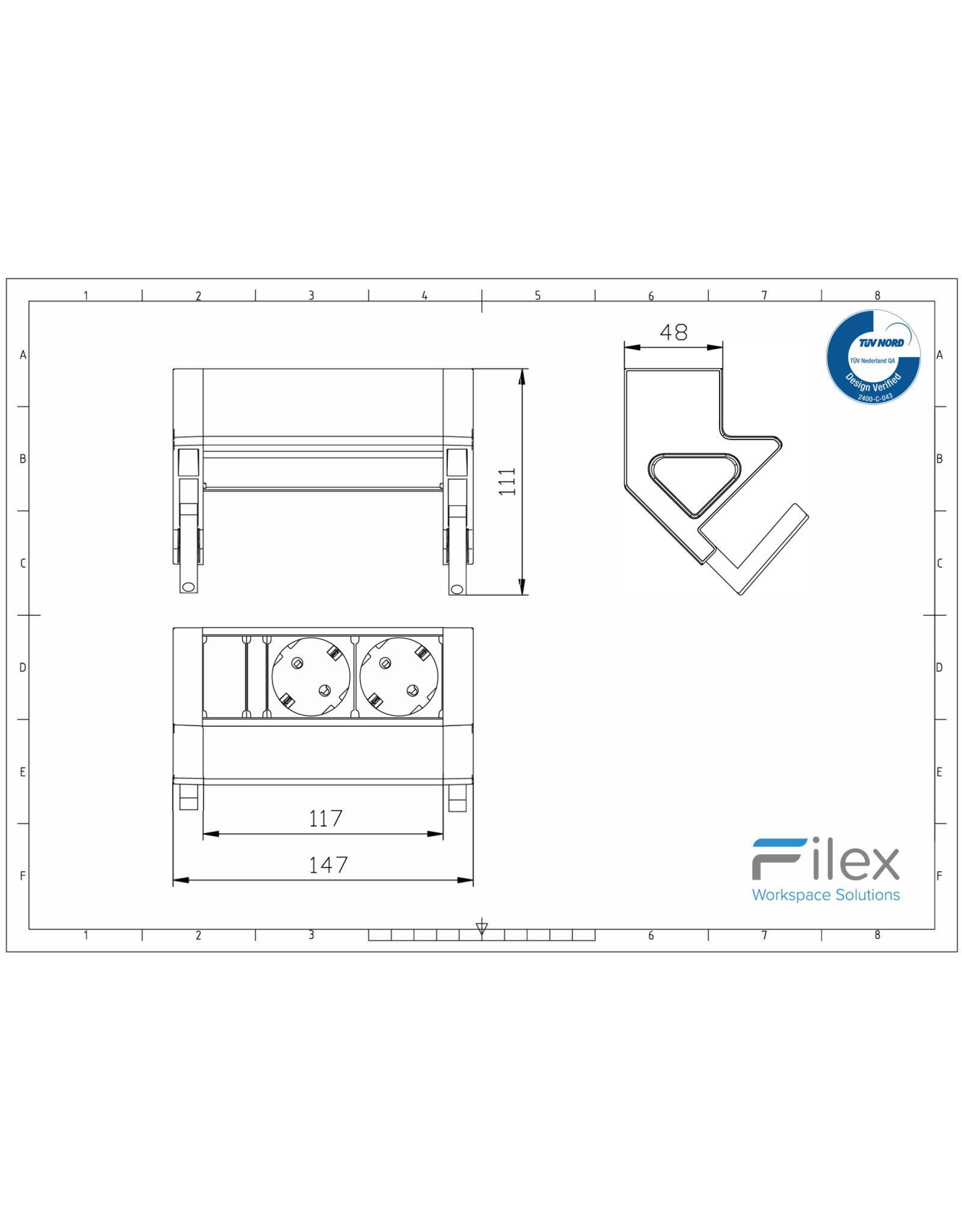 Filex Power Desk up 2.0 - 2x 230V
