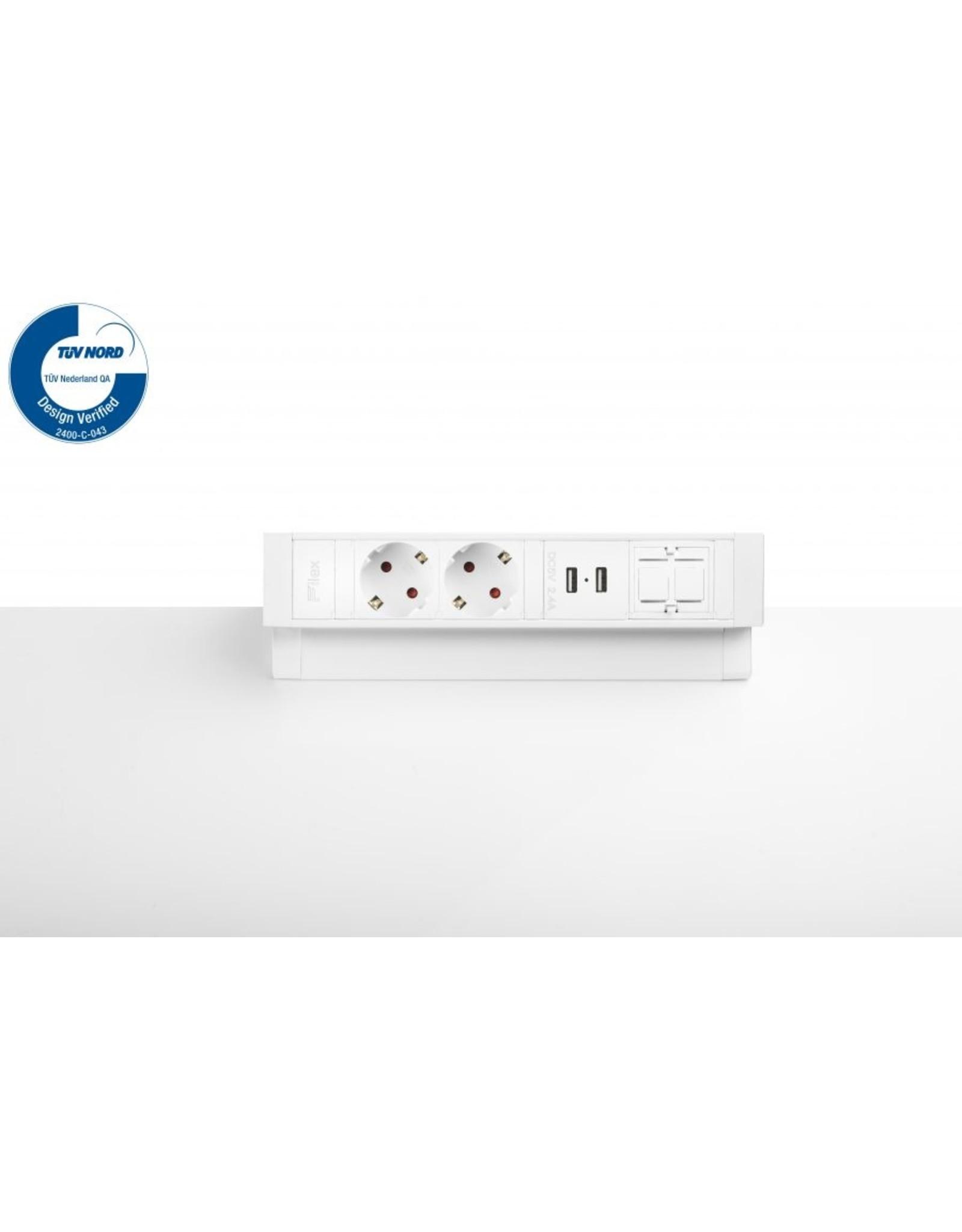 Ergo Power Desk up 2.0 - 2x 230V - 2x USB charger - 1x keystone