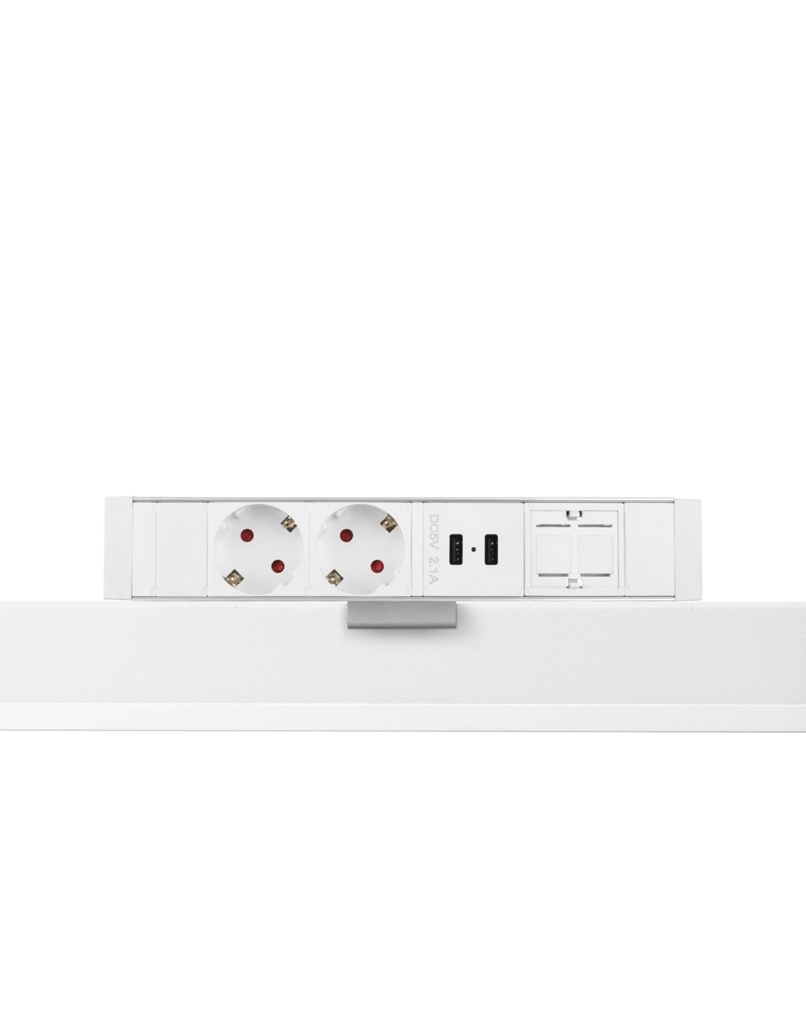 Filex Power Desk up - 2x 230V - 2x USB charger - 1x Keystone