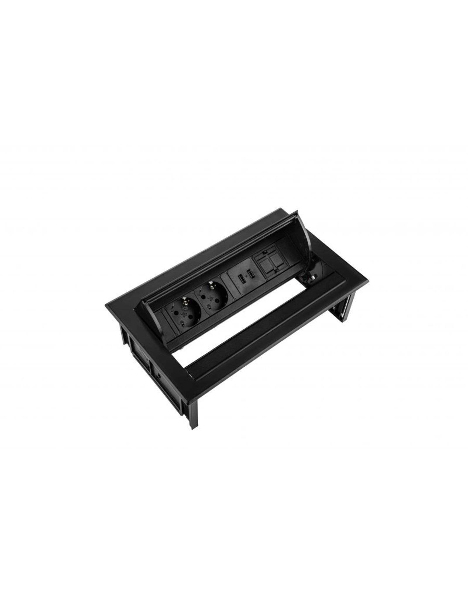 Filex Power Desk In - 2x 230V - 2x USB charger -1x Keystone