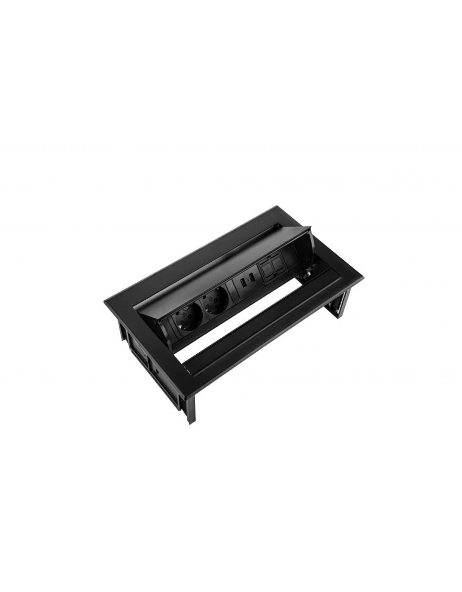 Ergo Power Desk In - 2x 230V - 2x USB charger -1x Keystone