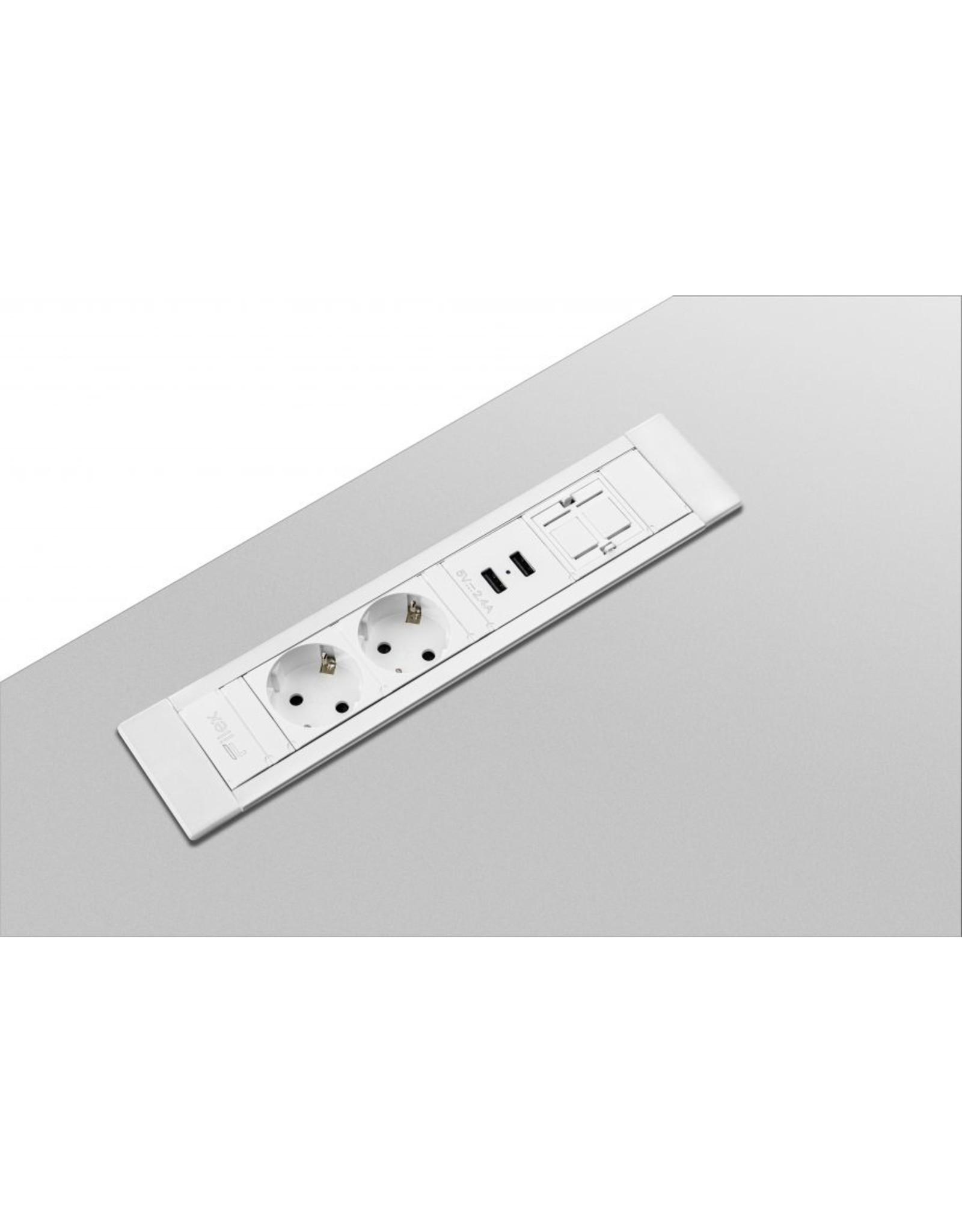 Ergo Power Desk Insert - 2x 230V - 2x USB charger - 1x Keystone