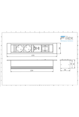 Filex Power Desk Insert - 2x 230V - 2x USB charger - 1x Keystone