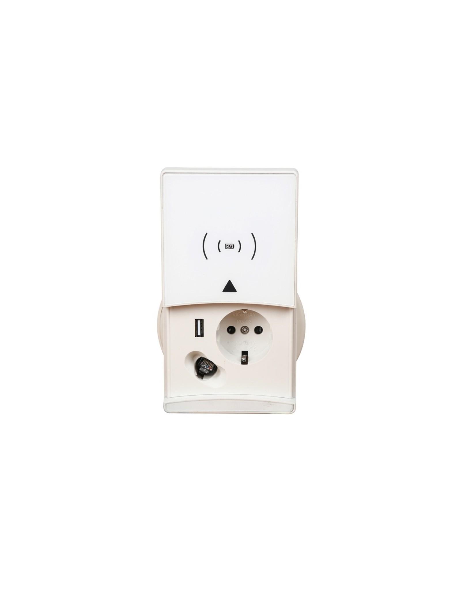 Filex QI-charger - 230V - USB-charger - CAT6