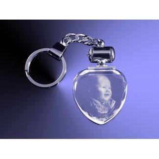 2D foto in glas - Sleutelhanger hart met wit licht