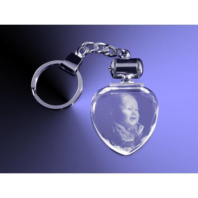 2D foto in glas - Sleutelhanger hart met rood licht