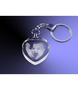 2D Foto in glas - Sleutelhanger hart