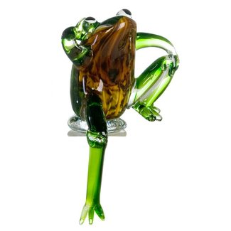 "Glassculptuur - ""Kikker zittend op een rand"""