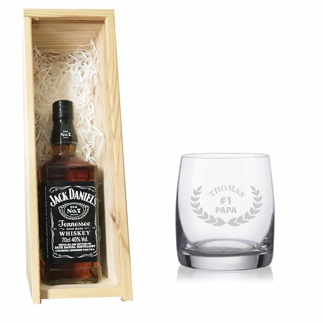 Whiskey Jack Daniel's met gegraveerd glas