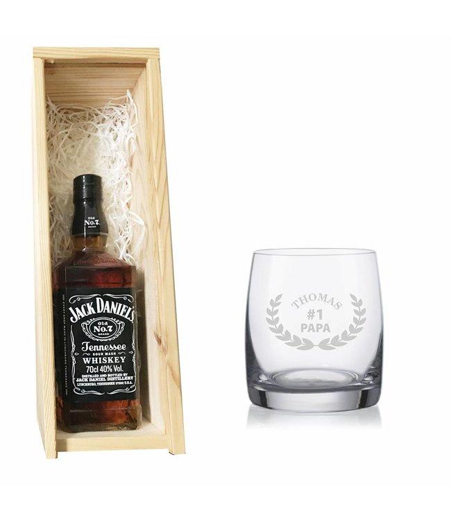 Whiskey Jack Daniel's met gegraveerd glas* exclusief fles