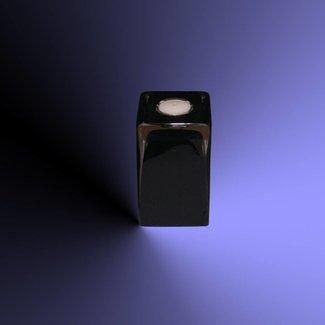 Theelichthouder zwart glas