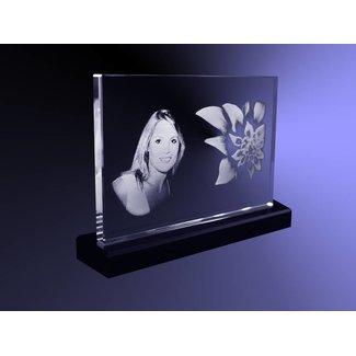2D foto in glas - Vlakglas horizontaal op zwart glazen voet